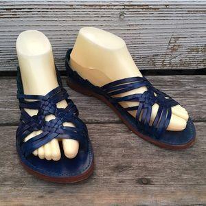blue leather handmade huaraches sandals